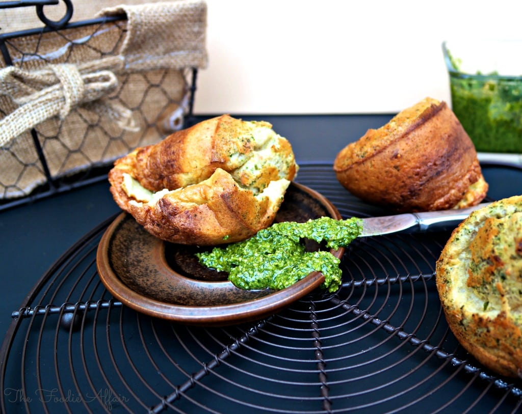 Pesto and Parmesan Popovers - The Foodie Affair