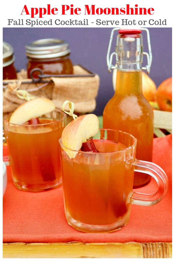 Apple Pie Moonshine! An apple flavored Fall spiced adult cocktail with plain and vanilla vodka! Serve cold or hot at your next gathering! #cocktail #Fall #moonshine #applepie | www.thefoodieaffair.com
