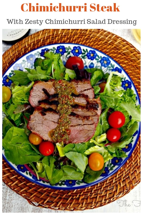 Quick and easy Chimichurri Steak Salad, a simple dish with a zesty sauce! This popular Argentinean sauce doubles as a salad dressing and can be used for a variety of meats and vegetables. Toss on the salad for a dressing or dip each piece of meat in the sauce. #chimichurri #dressing #sauce #recipe #steak | www.thefoodieaffair.com