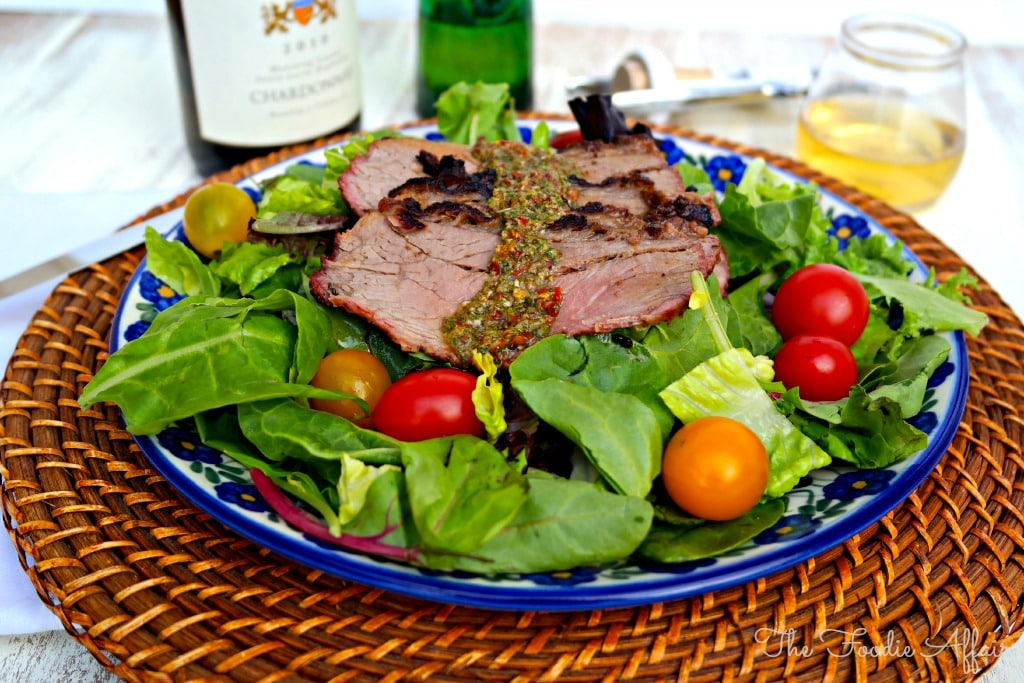 Chimmichurri Steak over salad