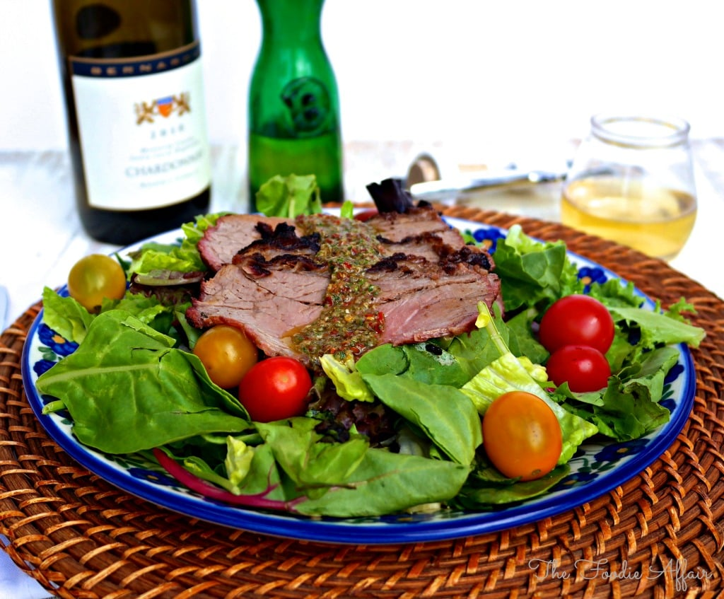 chimichurri steak on salad