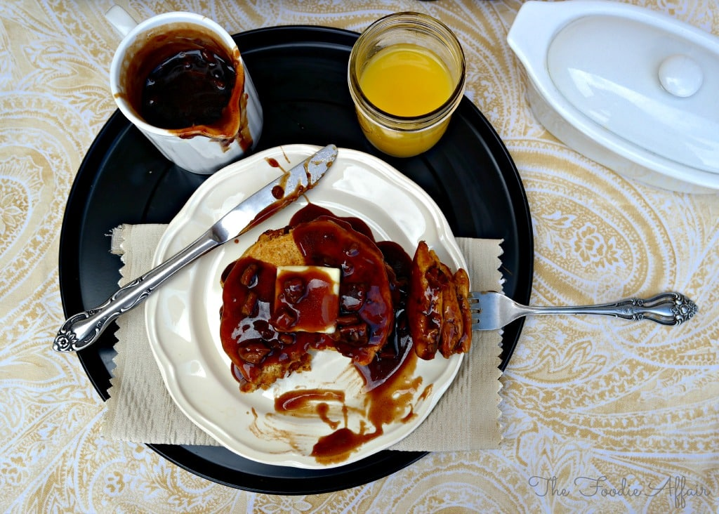 breakfast try with pumpkin pancakes with juice and maple syrup