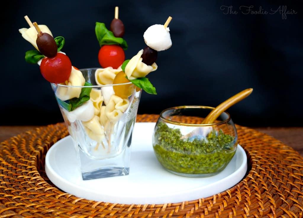 Tortellini Pesto Salad on Kabobs - The Foodie Affair