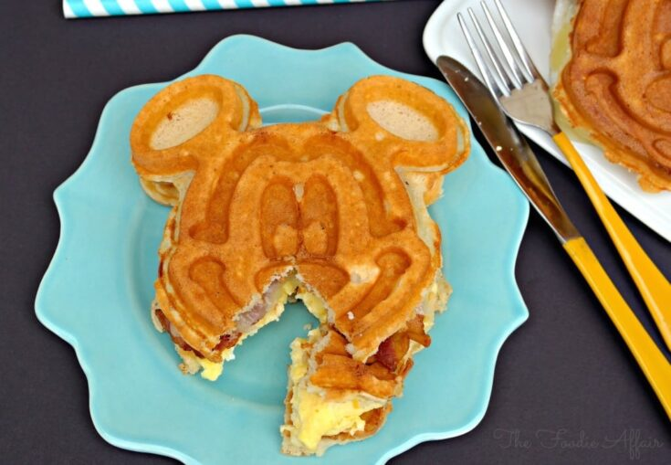 Breakfast Waffle Sandwich with Mickey Mouse on a teal plate