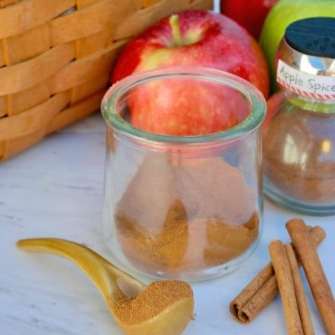 apple spice mix in a clear jar