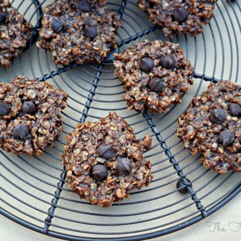 No Bake Oatmeal Chocolate Peanut Butter Cookies on a baking rack.