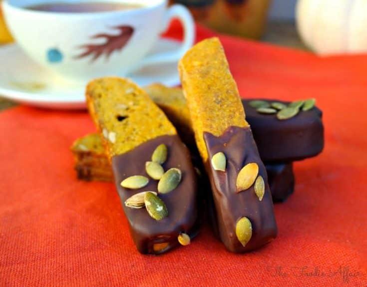 Pumpkin Biscotti Dipped in Chocolate