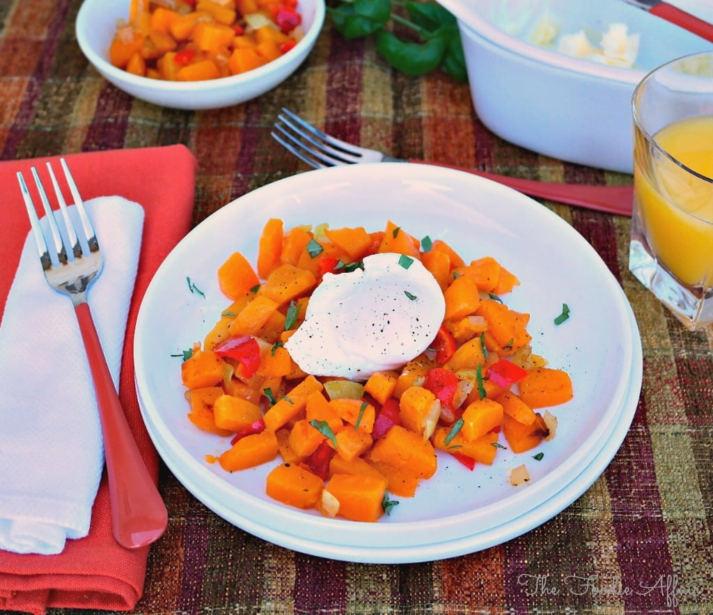 Butternut Squash Hash with Poached Eggs - The Foodie Affair