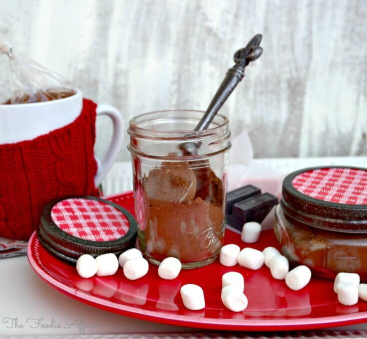 Hot Cocoa Mix Recipe displayed on a red serving tray