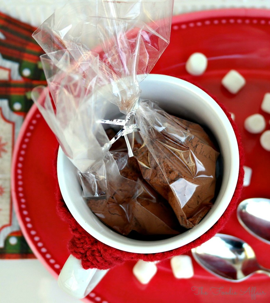 Hot Cocoa Mix Recipe in a white mug wrapped for gifts