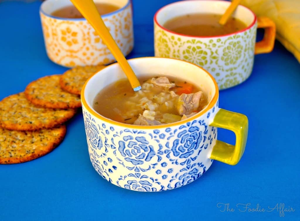 Easy turkey rice soup recipe served in mugs