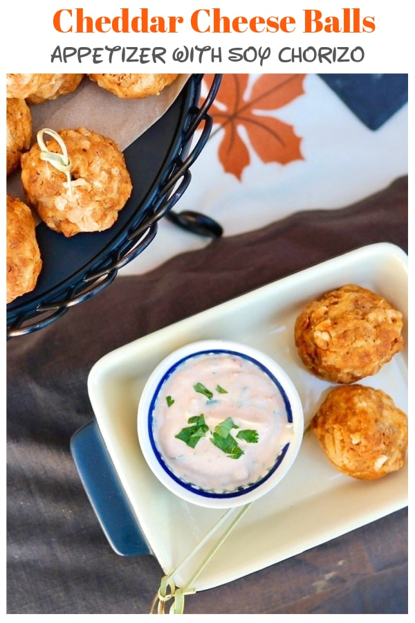 A delicious alternative to a meatballappetizer. Soy Chorizo Cheddar Balls are a hearty appetizer and packed with flavor! Dip them in achipotle sauce for an extra spicy bite! #vegetarian #appetizer #cheeseballs