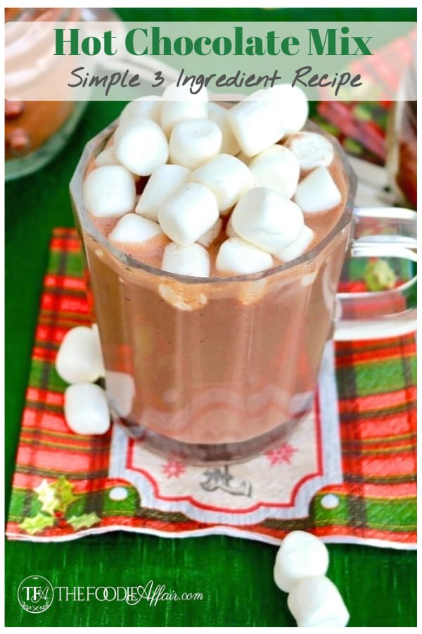 Make your own chocolatey and creamy homemade hot chocolate with three ingredient! This Hot Cocoa Mix recipe makes a great gift and adjustable to sugar-free ingredients! #hotchocolate #diy #drink #chocolate #beverage #thefoodieaffair