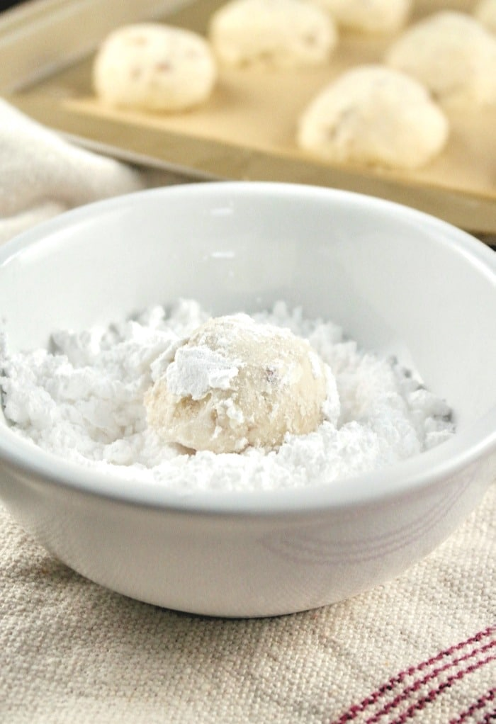powdered sugar with cookie lightly coating it