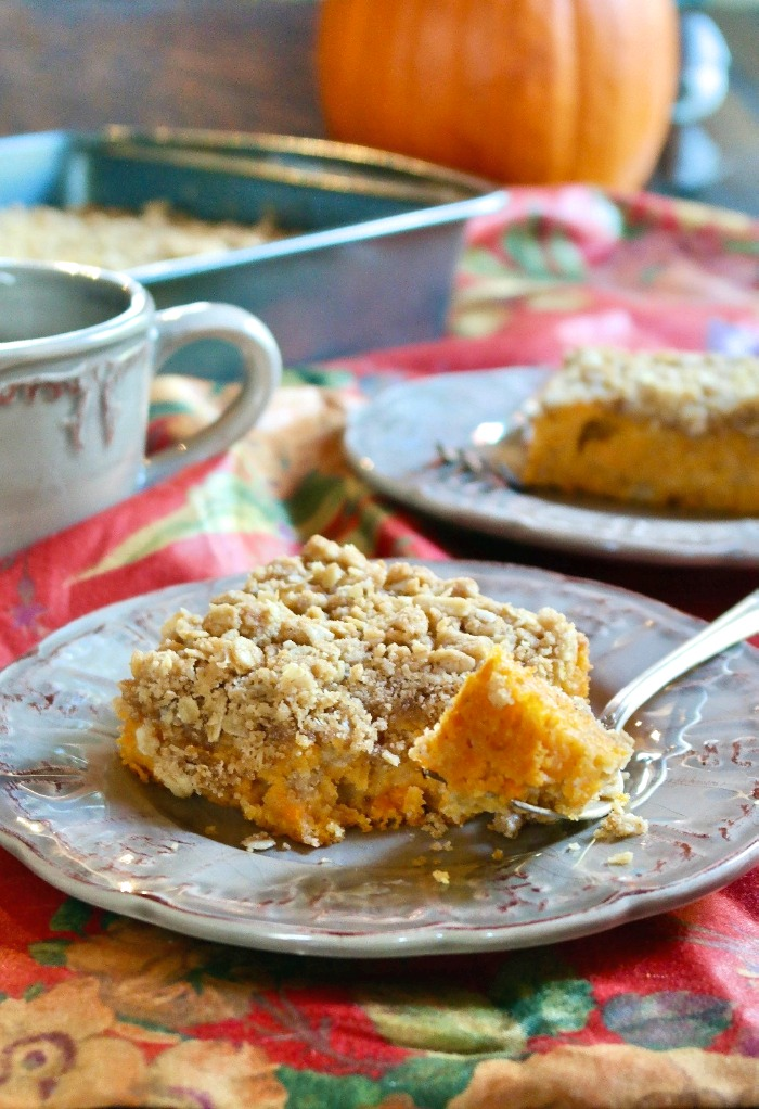 coffee cake made with sweet potatoes on a tan plate