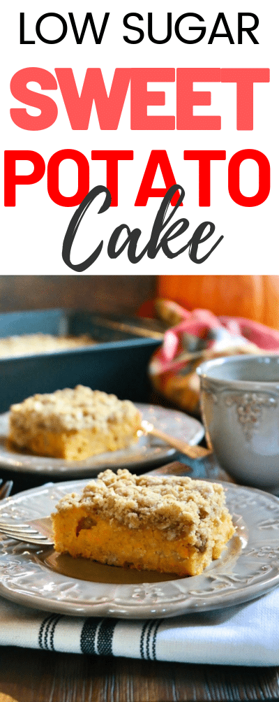 Tender Sweet Potato Coffee Cake with a oatmeal and brown sugar topping makes a wonderful morning snack or evening dessert! #cake #sweetpotato #crumble #coffeecake #lowsugar #brunch #baking #thefoodieaffair