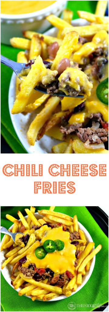Piping hot fries layered with a hearty beer chili and homemade nacho sauce! These Chili Cheese Fries are hearty enough to be a full meal or eaten as an appetizer! The Foodie Affair