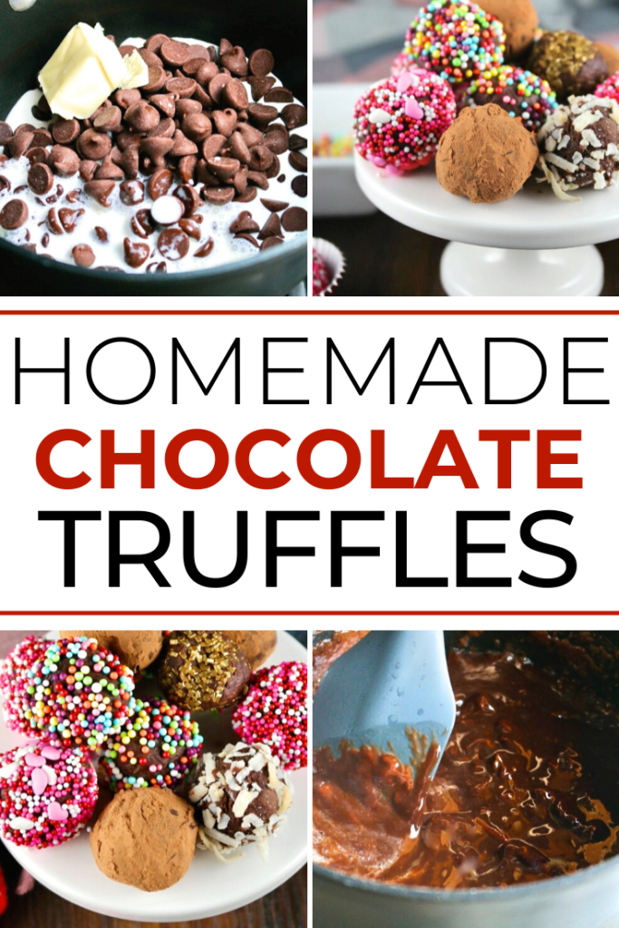Simple homemade chocolate truffle recipe! Rich and delicious ganache rolled in a variety of coatings for your special treat! Perfect diy Valentine's gift. #chocolate #truffle #homemade #easyrecipe #Valentinesday #sugarfreeoption