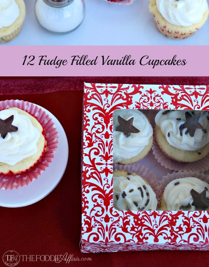 12 Fudge Filled Vanilla Cupcakes - The Foodie Affair