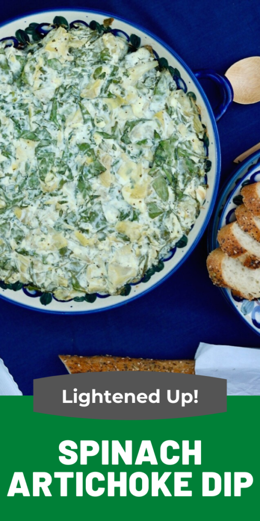 Classic spinach artichoke dip lightened up with Greek yogurt and low fat cream cheese. Enjoy this bubbling hot dip with sliced baguette pieces or vegetables! #appetizer #spinach #dip