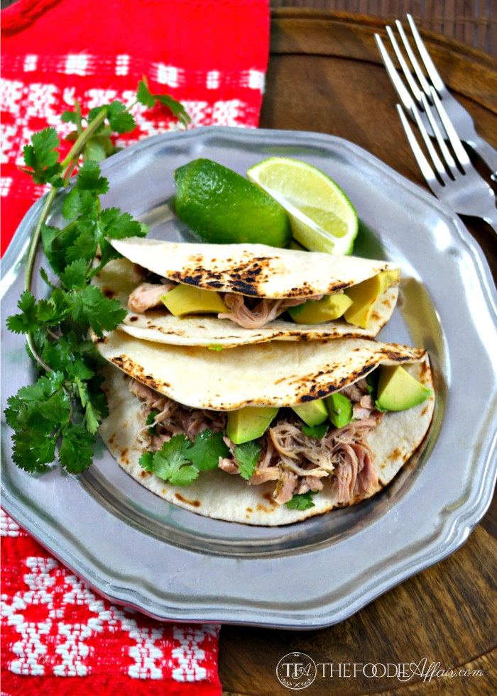 Slow Cooker Salsa Verde Chicken Tacos - The Foodie Affair
