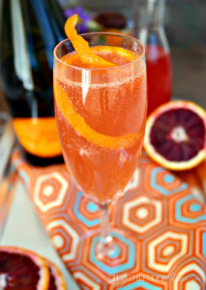 Blood Orange French 75 Cocktail - The Foodie Affair