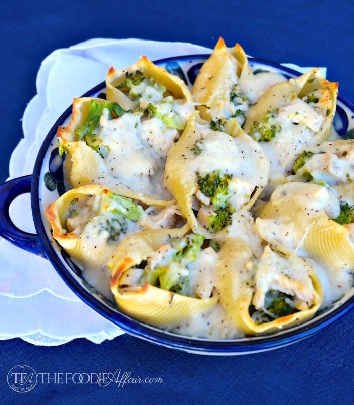 Chicken Divan Stuffed Shells in Dijon Sauce - The Foodie Affair