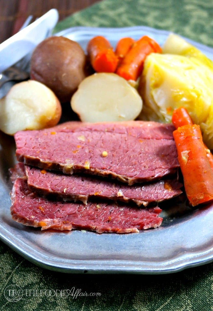 A plate of corned beef cabbage slow cooked!