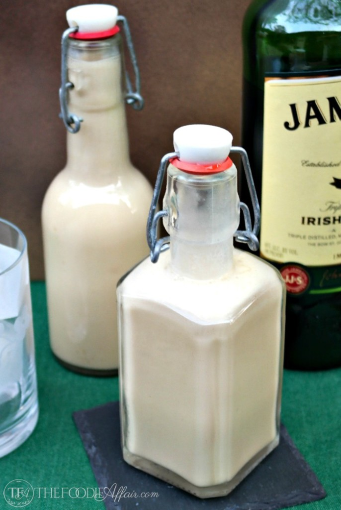 Homemade Irish Cream added to cocoa for Irish cream hot chocolate beverage