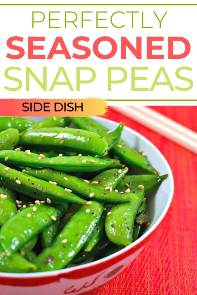 This stir-fry snap pea recipe only takes 5 minutes to cook a bright green, tender Perfectly seasoned snap peas! Simple and delicious additIon to any meal. #healthy #peas #sidedish