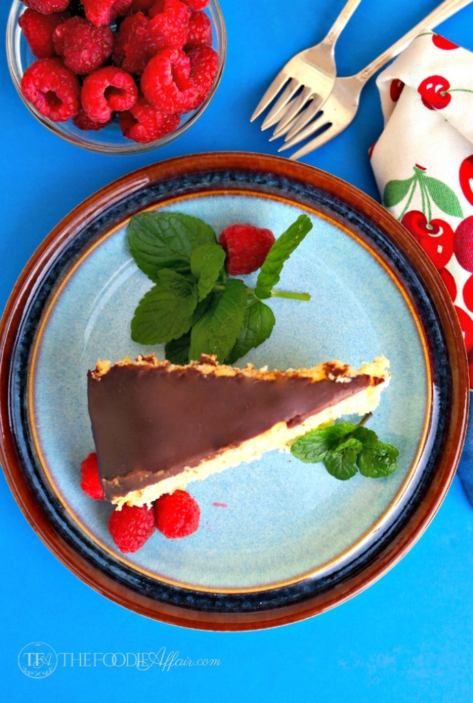 The best Boston cream pie with mint and raspberries
