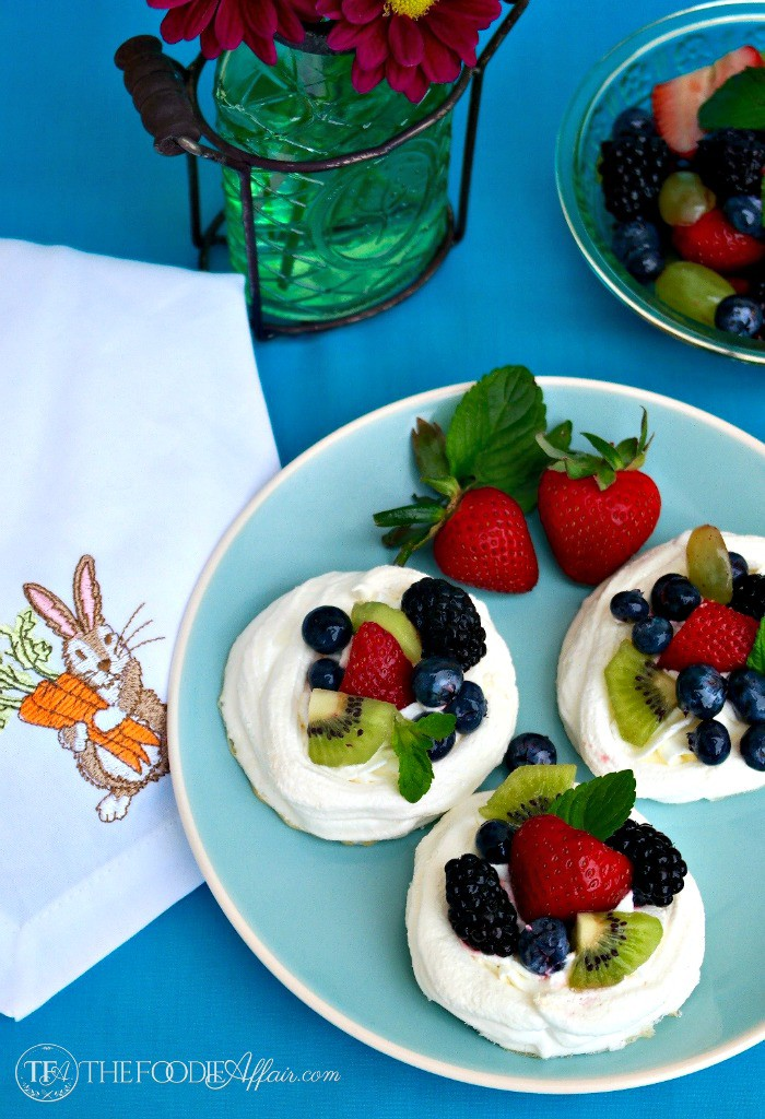 Individual Pavlova Nests on a blue plate