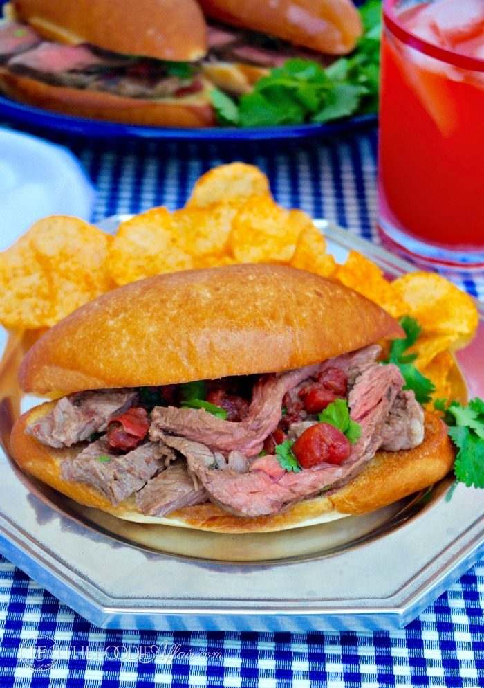 Mexican Style Steak Sandwich (torta) with Diced Tomatoes & Cilantro