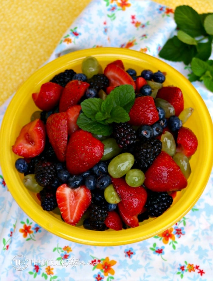 Fruit salad in a yellow bowl