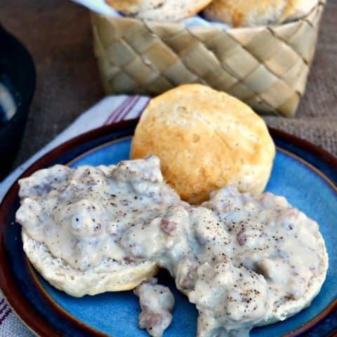 Sausage Gravy and biscuits made in a iron cast skillet