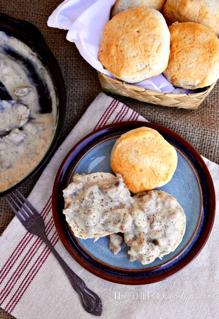 Sausage Gravy and Biscuit Skillet Recipe - The Foodie Affair
