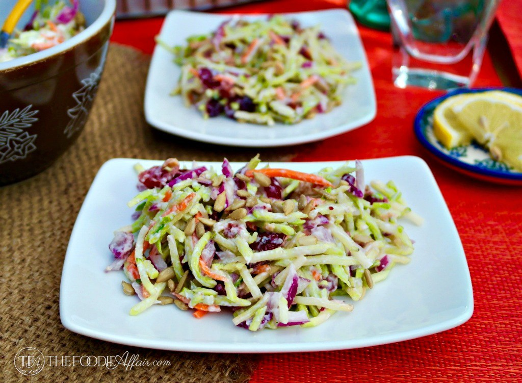Broccoli slaw on white plate