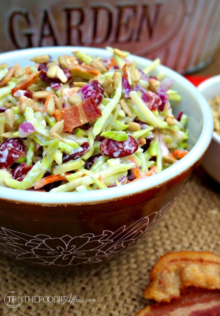 Broccoli Slaw salad in a brown pyrex bowl