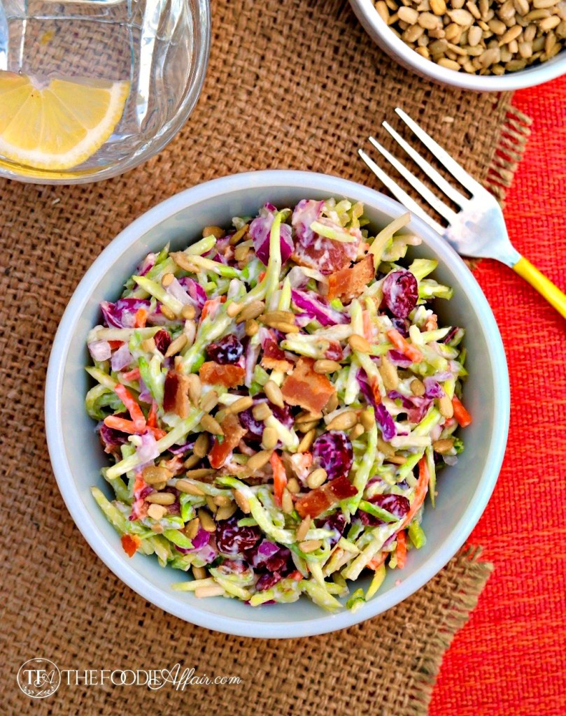 Broccoli Slaw in a white bowl