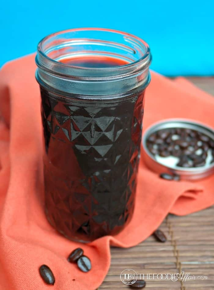 Fresh brewed coffee in a mason jar for beverages