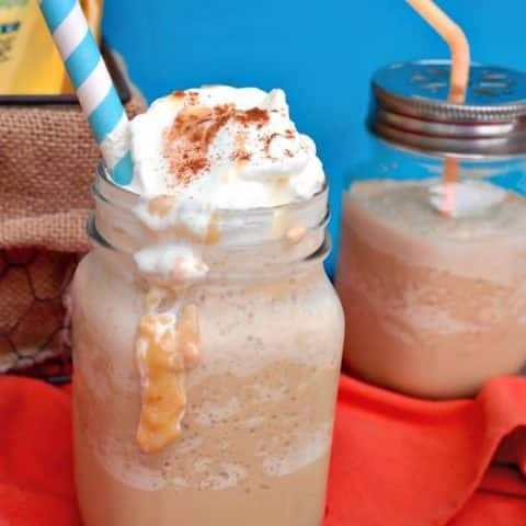 Dulce de Leche Frappe coffee drink topped with whipped cream