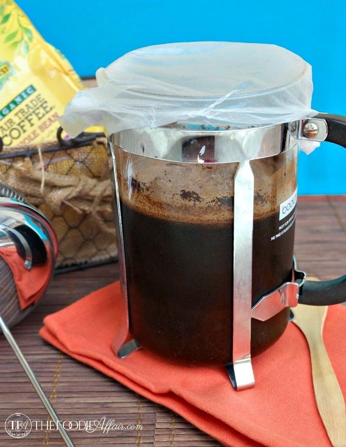 Fresh French pressed coffee