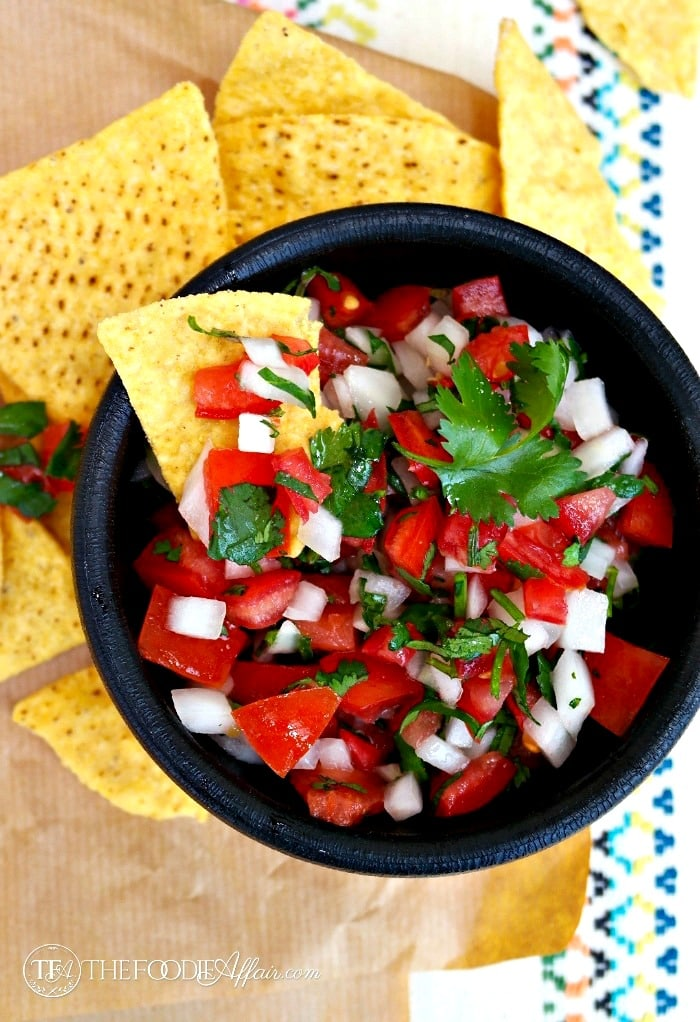 Pico de Gallo a fresh salsa for dipping or adding to any dish for lots of fresh flavors #salsa #tomato #dip | www.thefoodieaffair.com