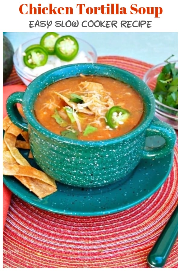 Mexican Slow Cooker Chicken Tortilla Soup is flavorful, satisfying and easy to prepare. Add baked tortilla chips and avocados for an extra flavorful punch! #tortillasoup #soup #chicken #Mexican #slowcooker #crockpot | www.thefoodieaffair.com