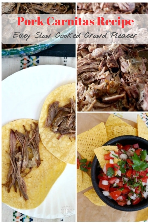 Slow Cooker Pork Carnitas just in time for your fiesta! Whether you are cooking for a crowd or want a main dish that will stretch through several meals, break out your slow cooker for these delicious pork carnitas! #carnitas #pork #slowcooker #crockpot #dinner #easy #thefoodieaffair