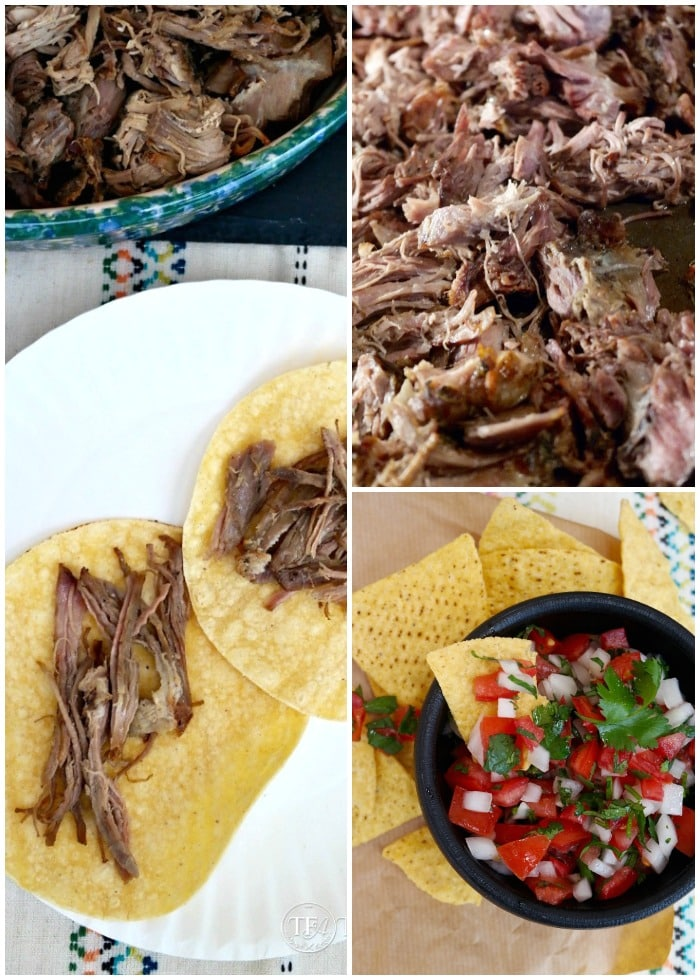 three photos of slow Cooker Pork Carnitas - on corn tortillas, shredded pork and fresh salsa in a black bowl