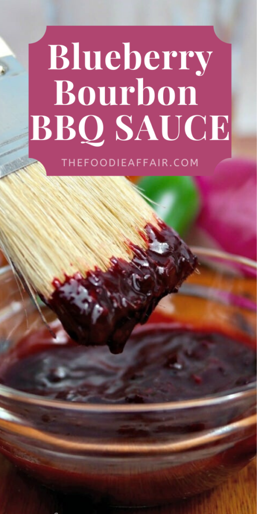 Fresh homemade BBQ sauce made with blueberries and bourbon. Sweet and tangy flavor that tastes delicious on any protein! Fire up the grill! #grilling #sauce