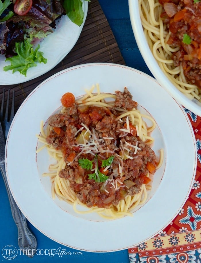Barilla® Spaghetti with San Marzano Tomato & Meat Sauce - The Foodie Affair