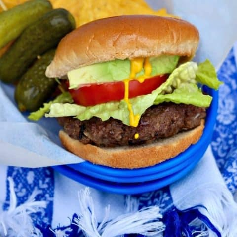 Classic Grilled Hamburger in a blue tray