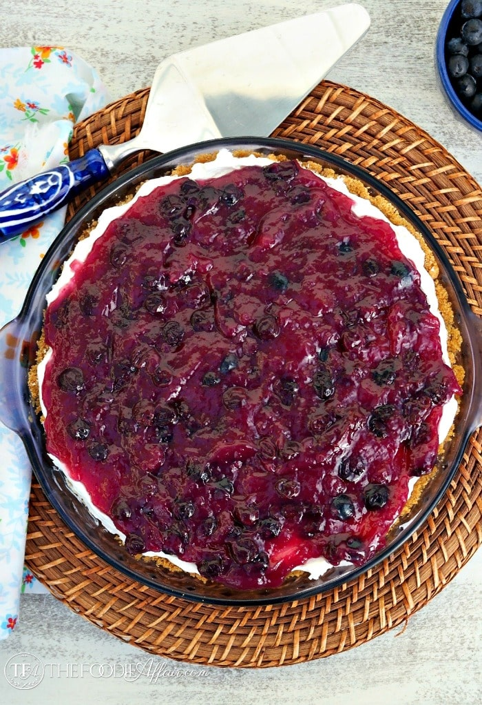 No Bake Blueberry Cream Cheese Pie